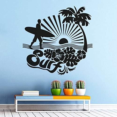 Surfen Sport Muursticker Sea Palms Vinyl Muurposter Zee Palmboom Muurtattoo Surfer Lover Gift Surfboard Muurschilderingen 80x80cm