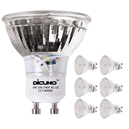 DiCUNO GU10 LED Bulbs 5W Pure White, 6000K, 500lm, 120 Degree Beam Angle, Spotlight, 50W Halogen Bulbs Equivalent, MR16 LED Light Bulbs, 6-Pack