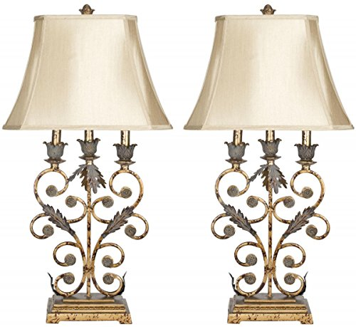 Safavieh Lighting Collection Lucia Gold 32.5-inch Table Lamp (Set of 2)
