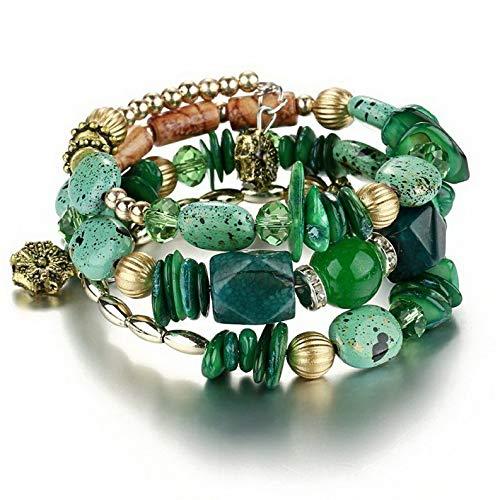 (Gatton Fashion Multilayer Natural Stone Crystal Bangle Women Beaded Bracelet Jewelry   Model BRCLT - 43807  )