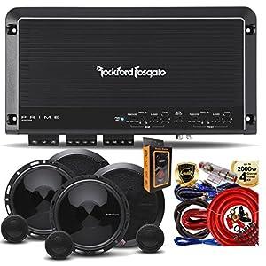 Rockford Fosgate R300X4 Prime 400W 4-CH Amplifier + (4) P165SE 6-5 Inch 2 Way Speaker + Amp Kit