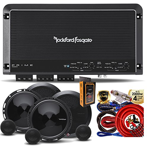 Rockford Fosgate R300X4 Prime 400W 4-CH Amplifier + (4) P165SE 6-5 Inch 2 Way Speaker + Amp Kit