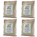 Moso Natural Air Purifying Bag. Odor Eliminator for Cars, Closets, Bathrooms and Pet Areas. Natural Color, 200-G, 4 Pack