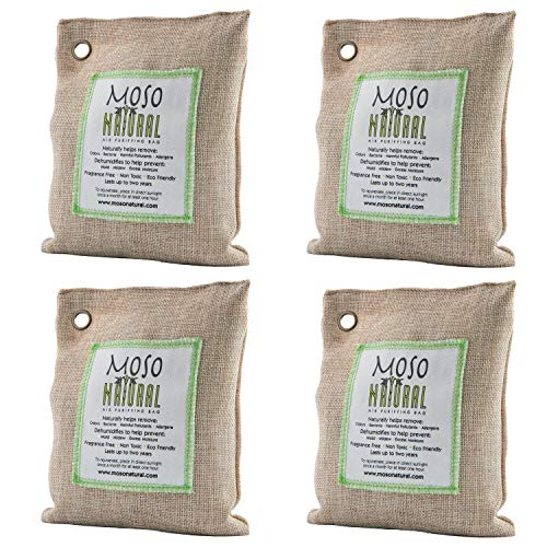 Moso Natural Air Purifying Bag 4 Pack. Bamboo Charcoal Air Freshener, Deodorizer, Odor Eliminator, Odor Absorber For Cars and Closets. 200g Natural Color