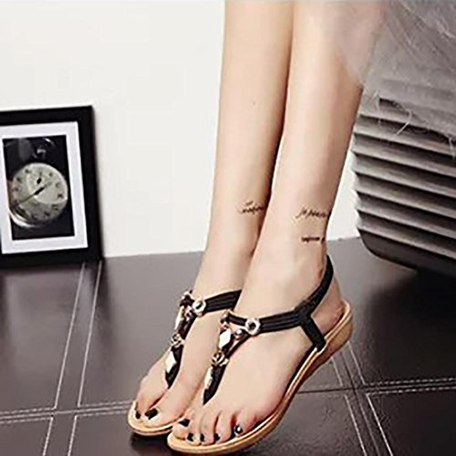 Frauen Sommer flache Schuhe , Kaiki Beaded Bohemia Freizeit Sandalen Peep-Toe Flip Flops Schuhe Black