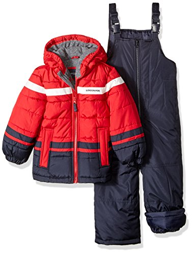 London Fog Boys' Toddler 2-Piece Snow Pant & Jacket Snowsuit, red, 4T (Best Cheap Snow Jackets)
