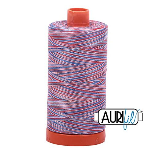 Aurifil Mako Cotton Embroidery Thread 50wt 1422yds Variegated Red/White/Blue