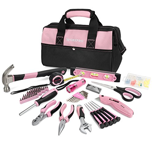WORKPRO 75-piece Pink Lady Tool Set Home Repairing Kit with Wide Mouth Open Storage (10' Torpedo Level)