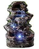 Pro-G Falling water fountain accent patio garden soothing sound falling water drop 4 step light indoor outdoor decor