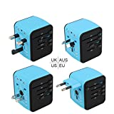 Type C Travel Adapter by Guez Products | Power Adapter for iPhone, Samsung and more | Travel Charger / Smart Charge 2.4A USB And 3.0A Type-C Port | Blue