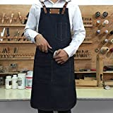 Lqchl Denim Bib Apron W/ Leather Strap Barber Barista Florist Cafe Chef Bakery Uniform Bar Tattoo Shop Workwear
