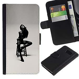 Paccase / Billetera de Cuero Caso del tirón Titular de la tarjeta Carcasa Funda para - Lady Girl Woman Black White Posing - Samsung Galaxy S6 SM-G920