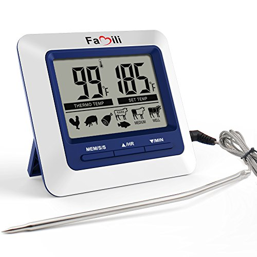Famili MT004 Digital Electronic Kitchen Food Cooking Meat Thermometer for Christmas BBQ Oven Grill Smoker with Timer Alarm and Large LCD Display (Digital Thermometer Meat Programmable)