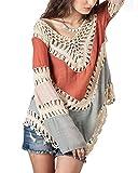 MorySong Women Crochet Bikini Blouse Boho Beach Knitted Top Cover Up Swimsuit