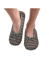Snoozies Womens Multi Wavy Knit Ballet Non-Skid Slipper Socks