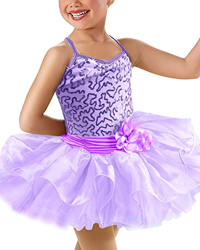 Kids One-Piece Sparkle Rhinestone Dance Costumes Short Sleeve Tutu Ballet Dress for Little Girls 3-8 Years Purple 9-10 (Rhinestone Dance Costume)