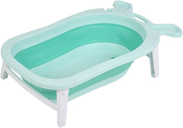 Bebé Tina De Baño Caja De Baño Almacenaje Bandeja De Baño Soporte De Baño Estera De Baño Plegable Los Niños Pueden Sentarse Mentir Bebé Recién Nacido Grande HUYP (Color : Green A):