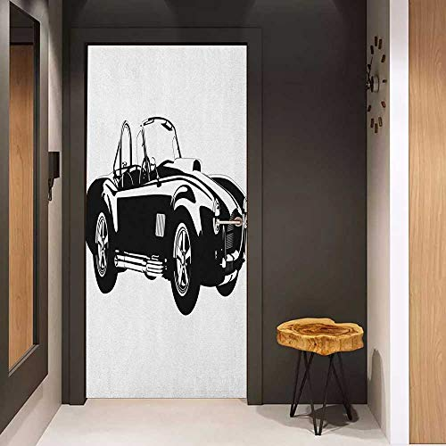 Onefzc Self-Adhesive Wall Murals Cars Silhouette Classic Sport Car Ac Cobra Roadster American Antique Engine Autosport Sticker Removable Door Decal W38.5 x H77 Black - Roadster Engine Fire