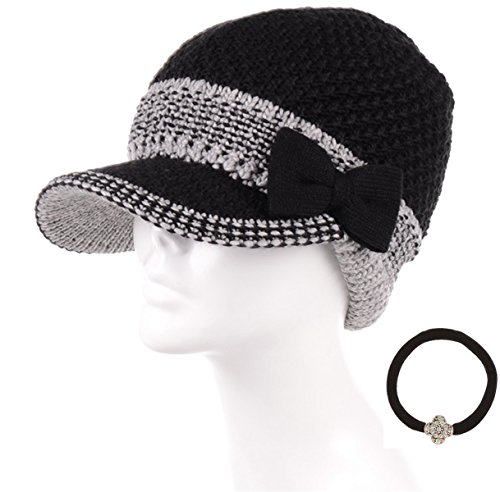 Brim Beret (MIRMARU Women's Winter Cable Knitted Beret Visor Beanie Hat with Scrunchy.(Bowknot,Black))