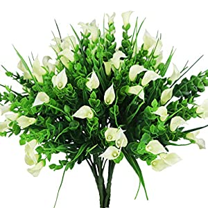 E-HAND Artificial Lily Flowers Outdoor UV Resistant Fake Plants Cemetery Faux Shrubs Calla Plastic White 48