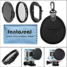 Fantaseal® Professional 52mm Black Circular Polarizing CPL Lens Filter Set Combo for GoPro Hero 3+/ 4 with Filter Adapters + Protecting Lens Cap + Shockproof Protective Lens Case GoPro Lens Filter GoPro Lens for GoPro Hero3+/ 4
