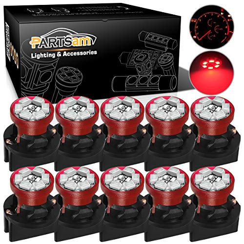 Partsam T10 194 LED Light bulb 168 LED Bulbs Bright Instrument Panel Gauge Cluster Dashboard LED Light Bulbs Set 10 T10 LED Bulbs with 10 Twist Lock Socket - Red