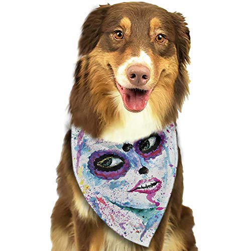 Creative Family pet Scarf Girls Grunge Halloween Lady with Sugar Skull Make Up Creepy Dead Face Gothic Woman Artsy W27.5 xL12 Scarf for Small and Medium Dogs and -