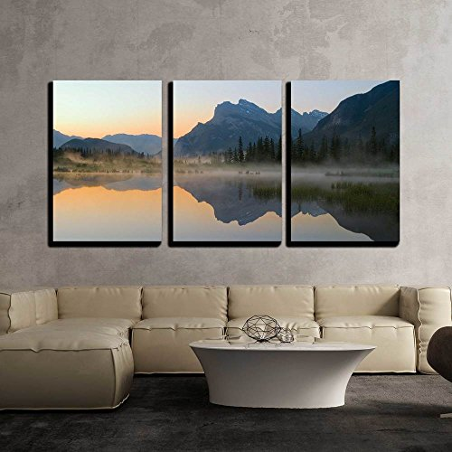 Dawn Framed Art - wall26 - 3 Piece Canvas Wall Art - Vermillion Lake with Mount Rundle and Reflection at Dawn - Modern Home Decor Stretched and Framed Ready to Hang - 16