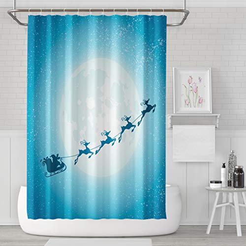 Asoco Shower Curtain Set with 12 Hooks Blue Moon Santa Claus Sleigh Flying Christmas ReindeerPolyester Fabric Waterproof Bath Curtain 72X78 Inches Decortive Bathroom