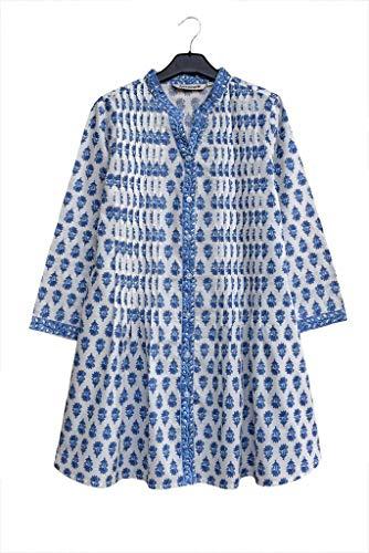Printed Cotton Tunic Top - Ayurvastram Juno Pure Cotton Printed Front Pleated Tunic Top Kurti Blouse, Blue, L