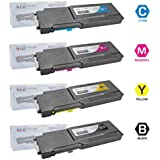 LD © Compatible Alternative for Dell C3760DN / C3760N / C3765NF Set of 4 Toner Cartridges: 1 Black 331-8429, 1 Cyan 331-8432, 1 Magenta 331-8431 and 1 Yellow 331-8430