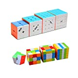 I-xun Speed Cube Set Magic Cube Set Stickerless Puzzle Cube Bundle (Pack of 2x2x2 , 3x3x3 , 4x4x4 , 5x5x5)