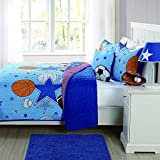 3pc Boys Blue All Star Sports Theme Quilt Queen Set, Orange Red, Stylish Basketball Football Soccer Ball Volleyball Baseball Themed Stripe Pattern, Fun Kids Sport Super Stars Bedding