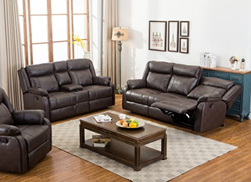 Roundhill Furniture Novia 2PC Leather-Air Living Room Set, Double Recling Sofa & Loveseat, Brown