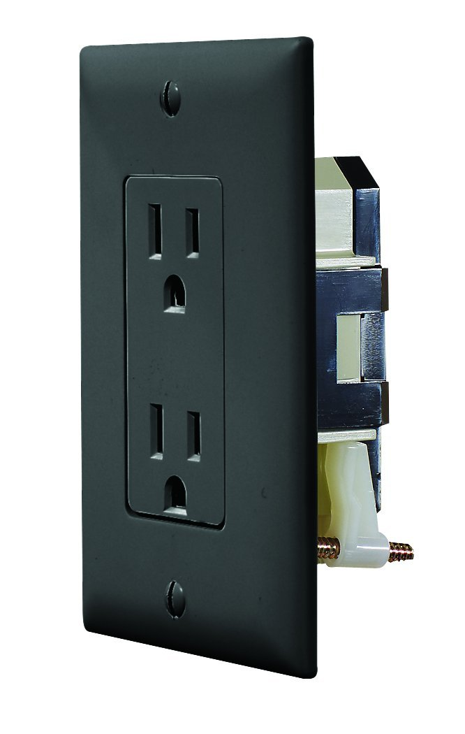 RV Designer S817, Self Contained Dual Outlet with Cover Plate, Black by RV Designer