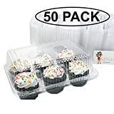 Katgely 6 Cavity Cupcake Containers with Deep Dome (Pack of 50)