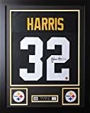 Franco Harris Autographed Black Steelers Jersey - Beautifully Matted and Framed - Hand Signed By Franco Harris and Certified Authentic by Auto JSA COA - Includes Certificate of Authenticity