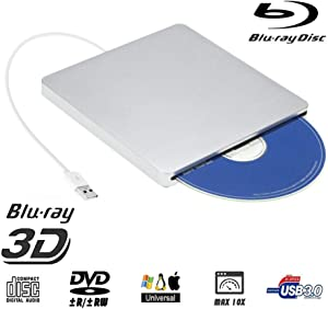 External Blu ray DVD Drive,Ploveyy USB 3.0 Ultra Slim 4K 3D Blu Ray External Blu Ray Player Writer Portable BD/CD/DVD Burner Drive Polished Metal Chrome for Mac OS, Windows 7/8/10,Linxus, Laptop