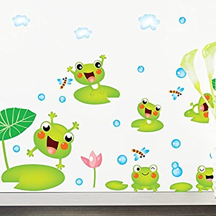 Amazon.com: Mr.S Shop Cute Green Frogs Wall Stickers for Bedroom ...