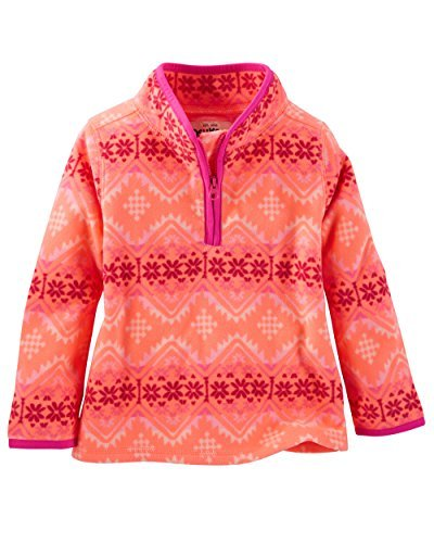 OshKosh B'gosh Little Girls' Quarter-Zip Fleece Cozies, Pink, Toddler