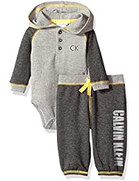 Calvin Klein Baby Boys' Hooded Bodysuit and Pant Set