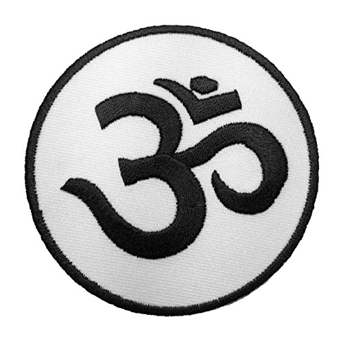Aum Om Infinity Hindu Hindi Hinduism Yoga Indian Trance Sew Iron on Embroidered Patch - White (AUM-WHITE)
