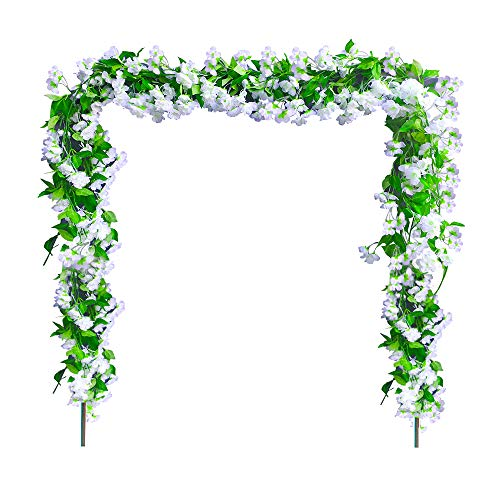 2 Pack Artificial Flowers 6.9 FT Fake Cherry Blossoms Vine Flowers Plants Hanging Ivy Arch Floral Garland Greenery Leaves For Wall Home Kitchen Hotel Office Wedding Party Garden Craft Art Décor,White -
