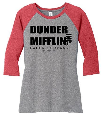 Comical Shirt Ladies Dunder Mifflin Paper Company Funny TV Show Shirt 3/4 Raglan