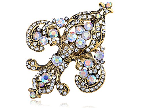 Fleur De Lis Handmade Costume - Alilang Golden Tone Shine Clear Rainbow Rhinestones King Queen French Fleur De Lis Adjustable Ring