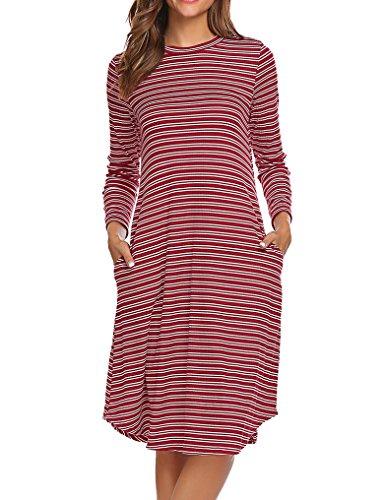 - Halife Women's Striped Pattern Loose Fit Flowy Stretch Knit Dress Petite Red Striped ,S