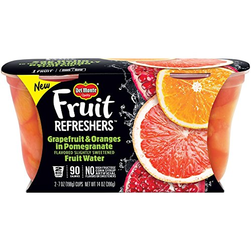 Slices Fresh Fruit - Del Monte Fruit Refreshers Snack Cups, Grapefruit & Oranges in Pomegranate Fruit Water, 2 Cups, 7-Ounce