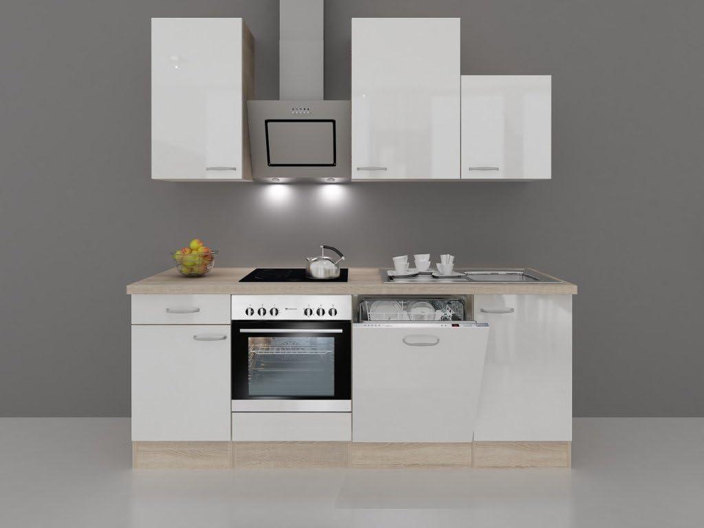 smartmoebel Cocina línea 220 cm Blanco Brillante con dessauer empotrable Dispositivos – Valencia: Amazon.es: Hogar