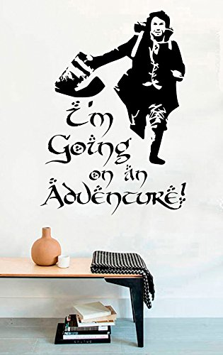 (Lord of the Rings Vinyl Wall Decals Hobbit Quotes I'm Going On An Adventure! Decor Stickers Vinyl Mural MK5211)
