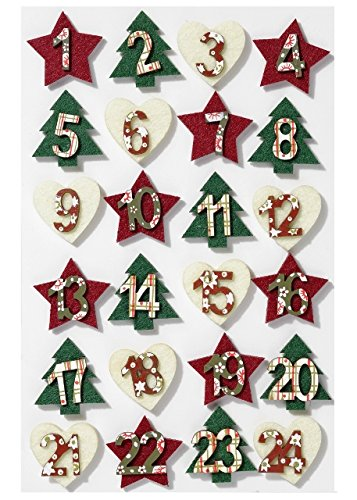 Advent Numbers - Self Adhesive Felt - Numbers 1-24 - Christmas/Festive/Advent Cranberry